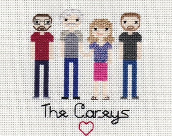 CUSTOM Family Cross Stitch Portrait - FOUR Figures
