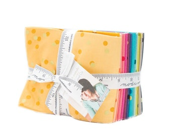Moda 20 Fat Quarter Ombre Confetti Metallic V and Co Gold Pink Yellow Green Blue Fabric