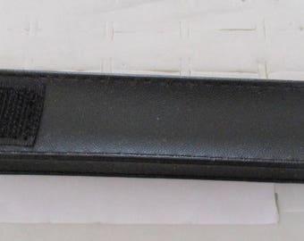 black faux leather pen pouch