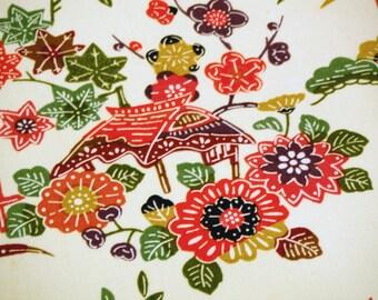 Vintage Japanese kimono fabric - Floral Landscape  scene wool kimono fabric