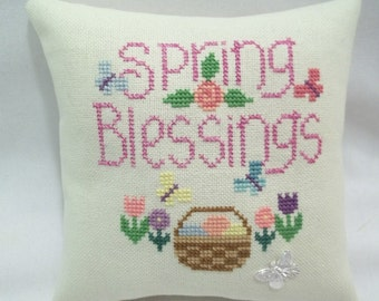 Spring Blessings Cross Stitch Mini Pillow, Tulips, Easter Basket, Butterflies