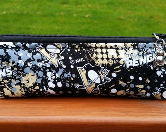 READY TO SHIP! Pittsburgh Penguins Skinny Notions Pouch dpn Case Bag Handmade Knitting