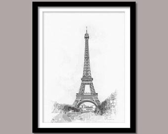 Eiffel Tower Print, Eiffel Tower Digital Print, Eiffel Wall Art, Minimal Print, Landmark Printable Art, Eiffel Digital Download, Black White