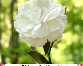 Large Felt White Peony Flower Stem - Single or Bouquet for Home Decor/Wedding/Gift