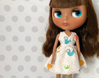 Bluebirds & Tulips Retro Day Dress / One-of-a-Kind Doll Dress for Blythe