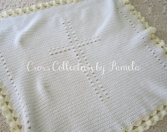 "Crochet Christening Blanket Cross Angel Border PDF ePattern 25"" x 28"" (64 cm x 71 cm) approximately"