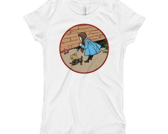 Vintage Wizard of OZ Dorothy Toto Wicked Witch Ruby Slippers Girl's T-Shirt