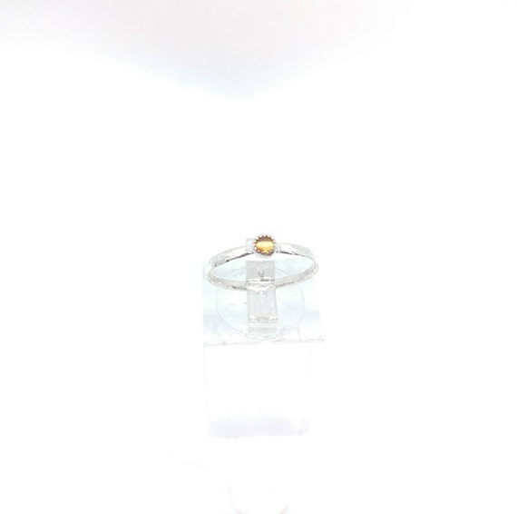 Yellow Sapphire Stackable Ring | Sterling Silver Ring Sz 6 | Sunshine Yellow Sapphire Ring | September Birthstone Ring | Stacking Rings