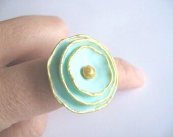 Handmade adjustable Clay Flower Ring