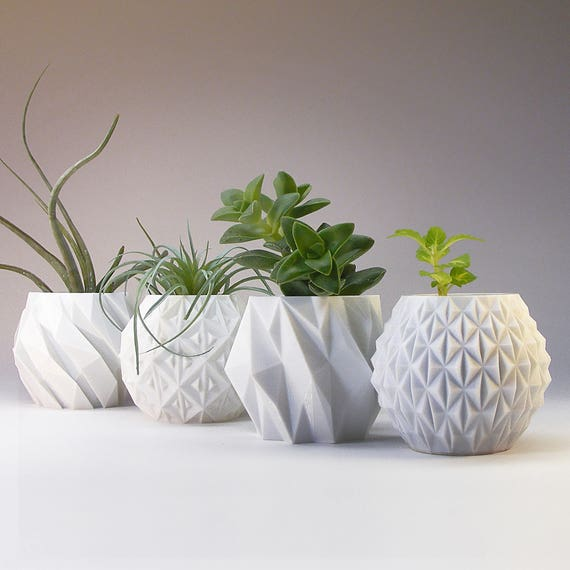 Gardening Gift Modern Planter Modern Home Decor Geometric Planter Gift Succulent Pot Desk Planter Pots Small Planter Set 3 D Printed Planter by Etsy