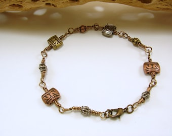 Unisex Mixed Metal Wire Wrapped Bracelet, copper, brass and gun metal