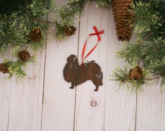Customizable Japanese Chin Christmas Tree Ornament   Personalized Dog Ornament