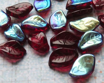 Deep Wine Red with Half Aurora Borealis Coating Czech Glass Leaves, 24 Beads - Item 5235