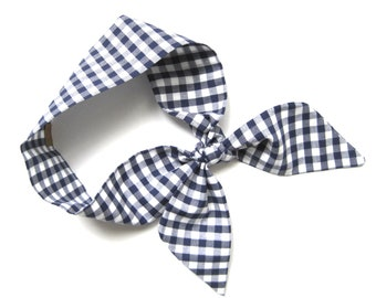 Blue Gingham Scarf, Skinny Scarf, Neck Scarf, Choker Scarf, Mother Gift, Retro, Rockabilly, Gift for Her, Under 20 Dollars, Ready to Ship