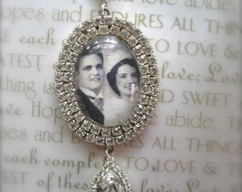 Wedding Bouquet Photo Charm, Bridal Bouquet Charm, Swarovski Crystal Memory Photo Charm
