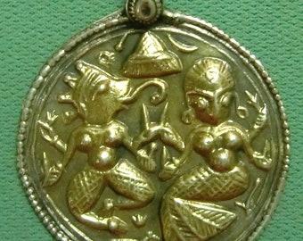 92.5 sterling silver necklace amulet pendant jewelry gold polish god ganesha & goddess from india