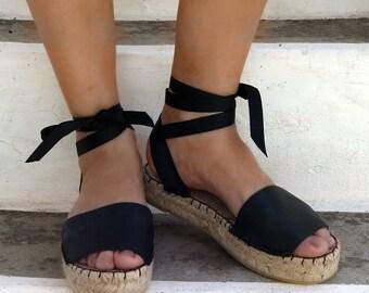 Black Espadrille Sandals. Leather Espadrilles. Summer Flat Shoes. Handmade Greek Sandals. Boho Women's Shoes. Gift for Her. Alpargatas