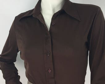 70s brown polyester button up shirt, 1970s polyester blouse
