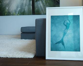 Mermaid Art Print, Mermaid Decor, Girl Nursery Decor, Mermaid Party Decor, Mermaid Artwork, Sea life Art, Illustration, 8 X 10