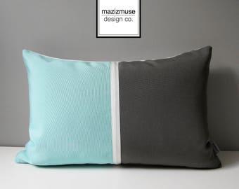 Aqua Blue & Grey Outdoor Pillow Cover, Grey and Blue Color Block Pillow Case, Modern Glacier Blue Gray Sunbrella Cushion Cover, Mazizmuse