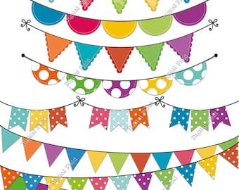 Colorful Polka Dot Bunting Clip Art Set - summer printable digital clipart - instant download
