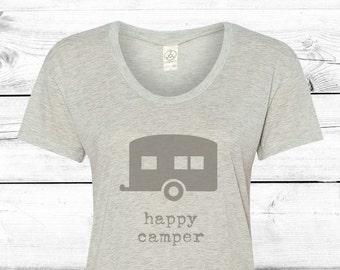 Happy Camper - Womens Graphic Tee, Camping Women, T-shirt, Ladies Screen Printed Tee