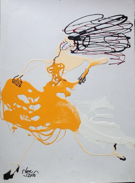 "Run, Girl, Run! 21.7x 15.7"" oil on paper, lines, fun wall decor, original painting by Nguyen Ly Phuong Ngoc"