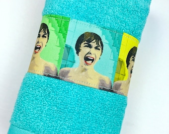 Psycho movie hand towel, turquoise bathroom decor, movie home decor, nerd towels, geek mom gifts, turquoise hand towels