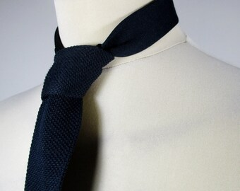 70s Vintage Mens Navy Blue Chunky Knit Square Tie (One SIze) Ska / Two Tone / Mod / Northern Soul style ---Quality Vintage Menswear---