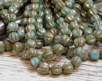 6mm - Picasso Beads - Melon Beads - Czech Glass Beads - 6mm Round - Round Beads - Fluted Round - 25pcs (162)
