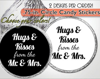 HUGS & KISSES from the Mr and Mrs Stickers, Wedding Favor Labels, Rehearsal Dinner, Candy Buffet, Black and White, Custom Colors, Aqua, Red