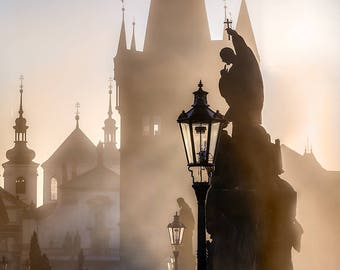 New Wall Art Canvas Picture Print: Prague - Sunrise over the Charles Bridge