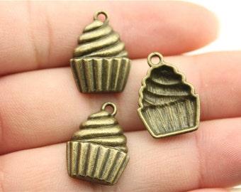 6 Cupcake Charms, Antique Bronze Tone (1H-21)