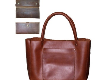 Leather tote bag, leather bag, leather tote, leather handbag, large leather tote - Double PLUS leather wallet