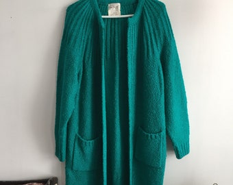 Vintage sarcelle green one size oversized cardigan
