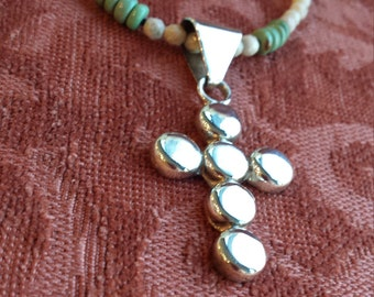 Sterling silver cross with turquoise necklace