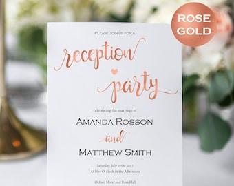 Wedding Reception Invitation - Reception Party Invitation - Wedding Printable - Rose Gold Wedding - Downloadable wedding #WDH812311