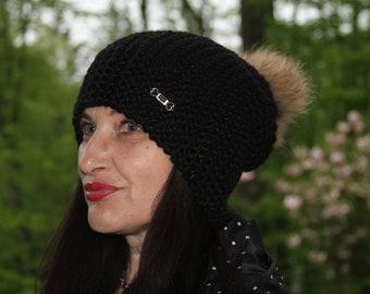 Slouchy Hat Women  Slouchy Beanie Winter Beanie Pom Pom Hat Women