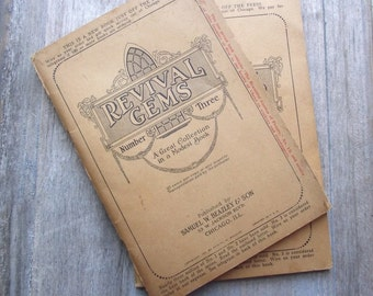 Revival Gems No 3 Hymnal / 1920s Softcover Gospel Song Book / Vintage Ephemera Hymnal Song Book / Vintage Supplies