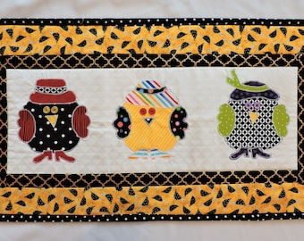 Quilt wall hanging, Whimsical chickens wall decor, art quilt handmade