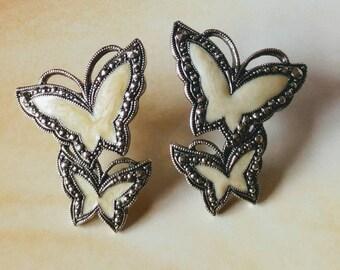 Vintage Silver Butterfly Earrings