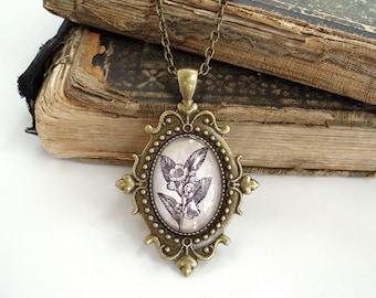 Tea Necklace in Bronze - Antique Botanical Print Pendant
