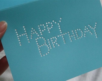 Happy Birthday - One Premium Hand-hammered Greeting Art Card - Textured Card Stock DDOTS
