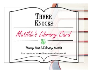 Matilda's Library Card - Three Knocks Candles - Book Candle - Scented Soy Candle - 8 oz Jar