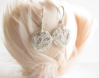 Silver earrings , PMC Silver Earrings , Pure silver , Fine Silver , Textured Silver , PMC jewelry , Everyday earrings