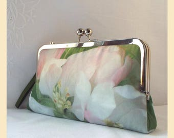 clutch bag, green purse with wristlet, bridal clutch, bridesmaid gift, evening purse, personalised clutch, apple blossom