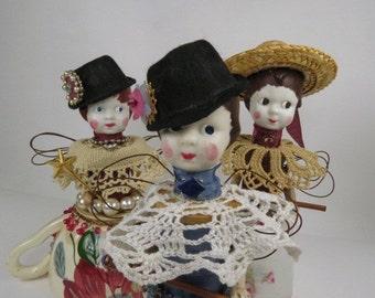 "Assemblage Angel, Art Doll, ""Grandfather's Black Hat"" Denim Blue Assemblage Art Doll"