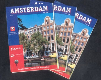 3 Maps of Amsterdam City - Great for Collage, Decoupage, Gift Wrap, Handmade Cards