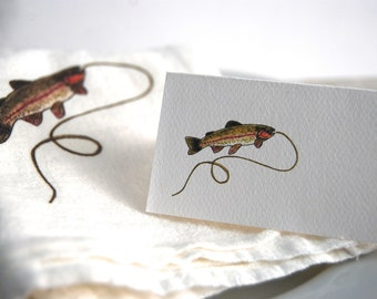 Rainbow Trout, Brook Trout, Place Card, Personalized Tented, Blank Seating Cards, Angler Party, Trout Illustration, Fish Theme , Trout Event