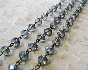 """One Meter 39.5"""" Faceted Sapphire Blue AB Rondelle Glass 6mm x 8mm Beaded Rosary Link Chain Antique Bronze 959-03"""